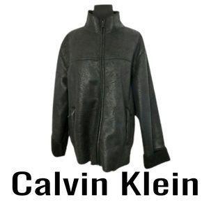 Calvin Klein Mens Black Faux LeatherJacket Medium